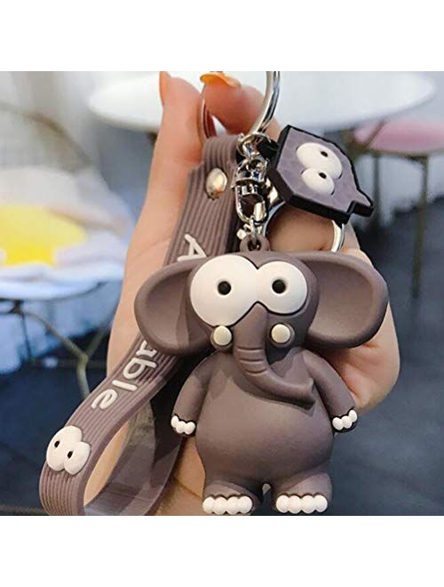 FUNZZY Elephant Key Ring Cartoon Hanging Key Chains Bag Car Key Pendant for Woman Girls
