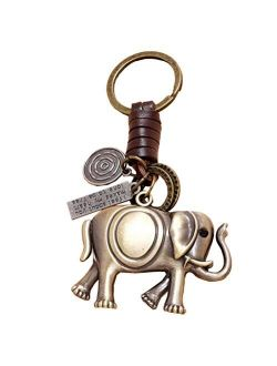 Holibanna Elephant Keychain Vintage Cowhide Leather Keyring Animal Metal Key Buckle Ring Holder Couple Gift for Women Girls Bag Charms Car Haning Pendant Ornaments