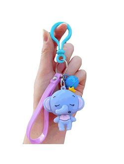 Decoration PVC Baby Elephant Keychains Keyring with Bells,Cute Keychain for Car Men and Women,Kids and Adults,Blue/Pink/Gray Exquisite (Color : Blue)