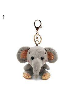 litymitzromq Keychain, Mini Elephant Plush Stuffed Doll Pendant Keychain Key Chain Holder Bag Decor
