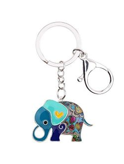 WEVENI Enamel Alloy Anime Elephant Keychains Key Ring Charm Jewelry For Women Girls Lady Bag Car Purse