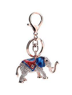 Freedi Colorful Elephant Keychain DIY Metal Rhinestone Key Ring Pendant Bag Accessorie for Women and Girls