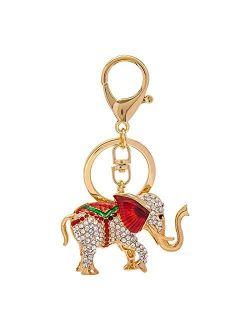YSKQDQ New Alloy Diamond Elephant Key Buckle Bag Pendant car Key Chain Key Ring Birthday Gift 1PCS YSKQDQ (Color : A)