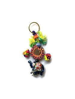 Stylo Culture Hand Knitted Bohemian Cute Keychain For Mom From Daughter Indian Multicolored Mirror, Pom Pom Balls, Elephant & Beads Gift Silk Thread Cute Keychain For Sal