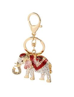 Amosfun 1Pc Adorable Elephant Design Keychain Fashion Car Bag Pendant Gift Key Ring Party Supplies