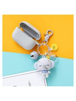 Tojuhyg Key Chain Cute Silicone Baby Elephant Keychain Keyring Female Blue Pink Gray Lollipop Bell Earphone Case Doll Naruto (Color : Red, Size : 10 cm)