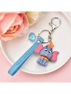 Fashion Cartoon Cat Squirrel Keychain Cute Three-Dimensional Striped Elephant Keychain Fun Phone Bag Car Pendant Key Ring-1