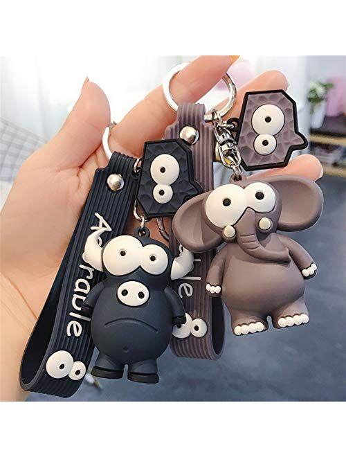 Xunsdzsw Key Chain 2020 New Ugly Cute Big Eye Bull Cute Elephant Key Chain Silicone Cartoon Animal Keyring Bag Pendant (Color : 1)
