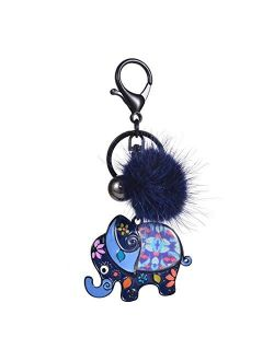 Jiaye Couple Keychains Top Design Metal Animals Elephant Keychain Trendy Bags Car Pendant Key Chain Rings for Men and Women Keyring (Color : Color 4)