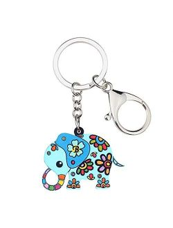 Kytrun Floral Anime Jungle Elephant Key Chain Keychains Pendant Cute Animal Jewelry for Women Girls Party Bag Car Charms Multicolr