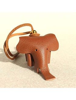 Key Chains - Multicolor Handmade Genuine Leather Cute Funny Lucky Elephant Keychain Pendant Animal Key Chain Women Bag Charm Accessories - by Mct12-1 PCs