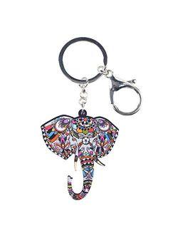 Kytrun Acrylic Elephant Head Key Chain Key Ring Bag Party Charm Car Keychain Accessories Animal Jewelry for Women Black