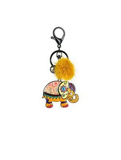 Keychain Jewelry New Lucky Elephant Key Chain for Girl Kid Fashion Metal Animal Key Chains Ring Car Pendant Keyring Keyring (Color : Color 2)