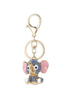 FLYB Christmas Keychains Blue Elephant Keychains Crystal Key Ring Key Chains for Gift Jewelry Llaveros Pendant G45