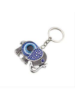 Alloy Elephant Key Chains For Women'S Handbags Charm Blue Evil Eye Keychains For Men Pendant Key Ring Car Key Holder