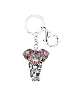 Keychain Enamel Alloy Jungle Animal Elephant Key Chain Key Ring for Women Bag Handbag Charm Jewelry Keychain Girl Accessories (Color : Blue)