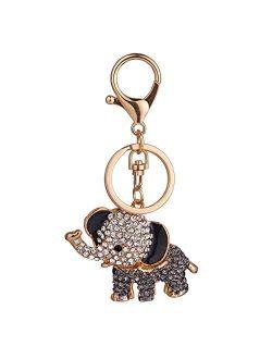 YONGYAN Cute Elephant Keychain Crystal Rhinestones Keyring Car Bag Purse Charm Pendant for Women Bag Decoration (Black)