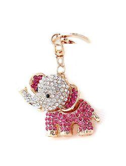 YONGYAN Cute Elephant Keychain Crystal Rhinestones Keyring Car Bag Purse Charm Pendant for Women Bag Decoration (Pink)