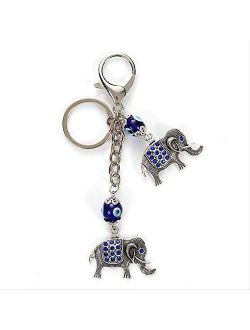 Blue Evil Eye Elephant Keychain Crystal Elephant Pendent Key Chain Car Key Chain Lobster Buckle Jewelry Gifts