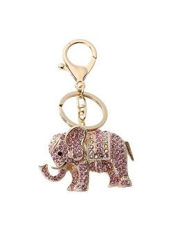 U/S Charm Pendant Lucky Mascot Elephant Keychain Bling Keyring Bag Purse Buckle Car Keys Holder Jewelry Gift for Women 3 Colors (Color : 02)