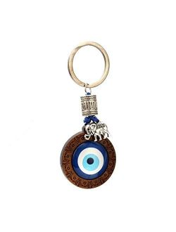 VIVUJOY Jewelry - Key Chain Wood Blue Turkish Eye Pendant Hand Elephant Owl Charm Keychain Fashion Jewelry for Women Men
