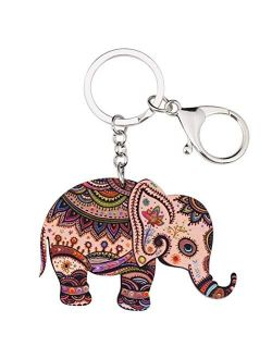 Acrylic Elephant Jewelry Keychain Keyring Driving Car Key Handbag Wallet Keychain Charm Hyococ (Color : Red)