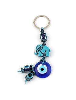 Keychains 1Pc Turkey Evil Eye Blue Keychain 4 Style Resin Animal Fish Elephant Butterfly 14Mm Evil Eye Blue Beads With Glass Round Eye Key