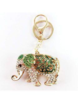 BellaMustard Lucky Elephant Green Colorful Keychain Rhinestone Plating Crystal 3d Keyring Jewelry Gift Charms Chain Bag Purse Fashion Animal Pendant Keychains Car for Wom