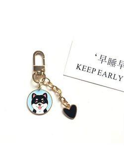 JZYZSNLB Keychain Keychain Accessories Cute Pet Dog Key Chain Car Keyring (Color : Purple Dog, Size : 6 cm)