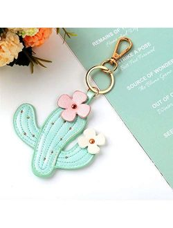 JZYZSNLB Keychain Fashion Key Chain Cute Women Purse Bag Charm Leather Keychain Car Potted Plant Keyring Pendant Gift (Color : Green)