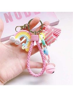 JZYZSNLB Keychain New Lovely Cute Rainbow Key Chain Leather Strap Braided Rope Tassel Keychain for Women Girl Bell Star Lollipop Bag Charm Pendant (Color : A24)