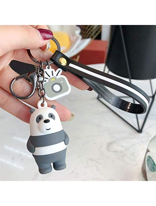 JZYZSNLB Keychain Cartoon Cute Keychain Key Chain for Bags Car Key Rings Pendant Accessories Kids Gift (Color : Funny Brown Bear)