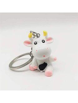 JZYZSNLB Keychain Keychain 3D Resin Cattle Key Chain Cartoon Cute Car Keyring Girls Pendant Fun Toys Kids Animal Keyring Gift (Color : C)