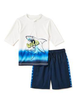 Boys Half Zip Rash Guard & Swim Trunks Set, Upf 50+, Sizes 4-16 & Husky