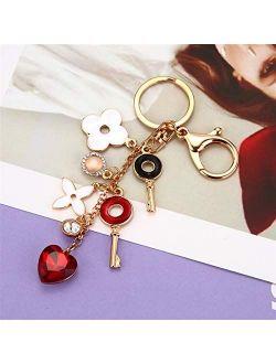 JZYZSNLB Keychain Keychain Fashion Heart-Shaped Rhinestones Keychain Flower Key Ring Bag car Pendant Jewelry Women's Gift (Color : Beautiful Keychain)