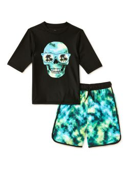 Boys Short Sleeve Rash Guard & Swim Trunks Set, Upf 50+, Sizes 4-16 & Husky