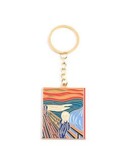 JZYZSNLB Keychain Keychains Classic Starry Sky Collection Oil Painting Metal Keyring for Artist Key Holder Gift (Color : K822)