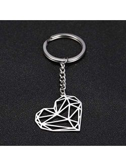 JZYZSNLB Keychain Fashion Hollow Heart Charm Car Keychain Keyring Women Stainless Steel Key Chains Holder Pendant for to Bag Gift (Color : Heart Key Chain)