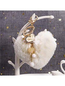 JZYZSNLB Keychain Cute Heart Pompom Keychain Charms Pearl Tassel Fluffy Flush Faux Rabbit Fur Key Chains for Women Girl Heart Bag Charms Pendant (Color : Beige White)