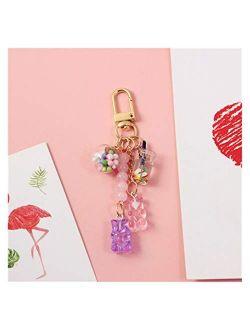 Fylsdes Cartoon Keychain New Cute Ins Candy Keychain Rainbow Gummy Bear Soft Shell Headset Pendant Key Chains Girl Gift Jelly Bear Chain Key Ring Interior Accessories (Co