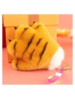 Fylsdes Cartoon Keychain Cute Tiger Palm Pendant Panda Dinosaur Paw Plush Toy Bag Decoration Leopard Gloves Keychain Children Gift Interior Accessories (Color : 1)