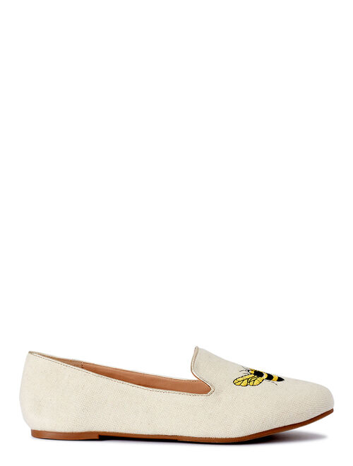 C. Wonder Bee Happy Embroidered Smoking Flat (Women's)