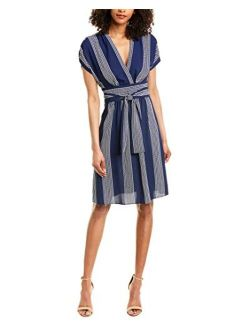 Women's V-neck Belted Waist Wrap Dress