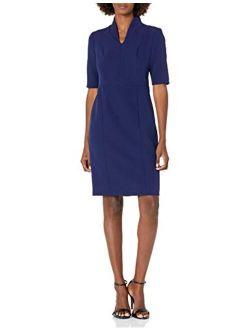 Women's 3/4 Sleeve Zip Front Sheath Dress