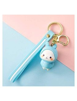 Fylsdes Cartoon Keychain Cute Rabbit Doll Keychain Pendant Creative Personality Car Chain Ring A Pair of Simple Couple Kawaii Bag Ornaments Gift Interior Accessories (Col