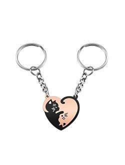 AllerPierce Cute Cat Couples Keychain Gift Heart Puzzle Key chains for Boyfriend Girlfriend Valentine's Day Birthday Gifts