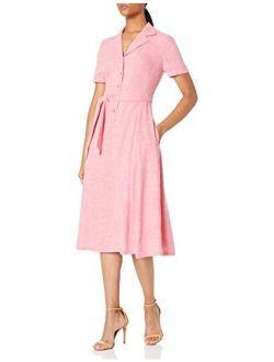 Women's Notch Collar Belted Shirt Dress