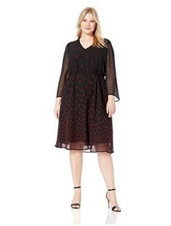 Women's Size Plus Long Sleeve Drawstring Midi Dress