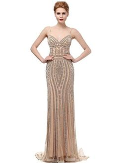 Sarahbridal Womens Tulle Mermaid Sequin Evening Dress Formal Prom Gowns Long