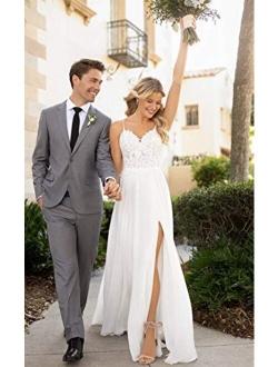 Women's Spaghetti Strap V-Neck Lace Chiffon Beach Wedding Dress A-line Bridal Wedding Gowns with Slit